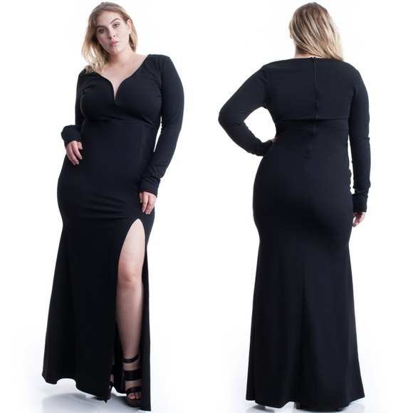 NEW PLUS SIZE LONG SLEEVE BLACK MAXI DRESS Boutique